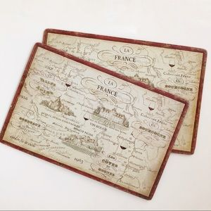 Set of Two Placemats with Distressed Map of France